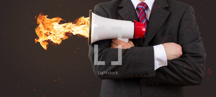 megaphone on fire