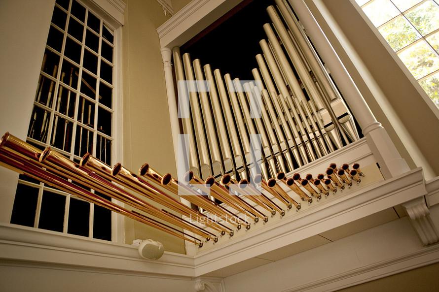 Organ pipes inside church