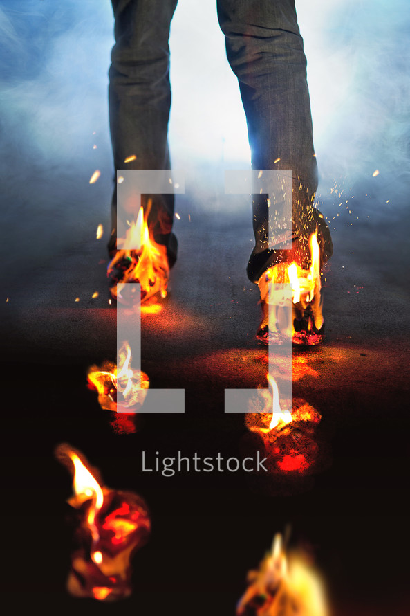 feet on fire