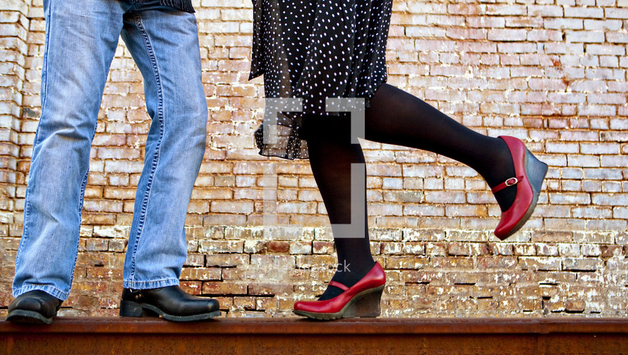 A man and women's legs