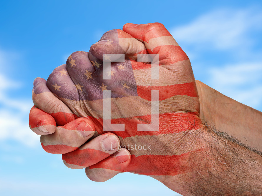 American flag on Praying Hands