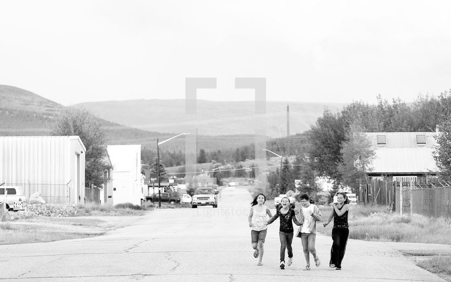 Kids walking on street in Colorado