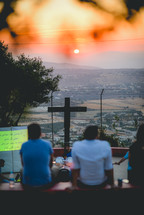 worship service on a mountaintop with valley view