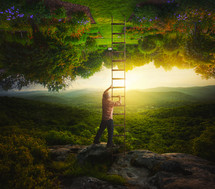 man with a ladder to paradise