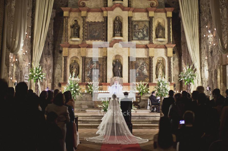 A bride and groom's wedding ceremony