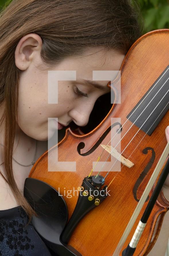 teen girl and violin