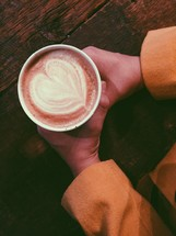 heart shape in a latte