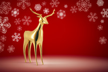 gold deer and snowflake border