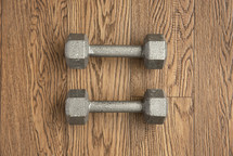 barbells on a wood floor