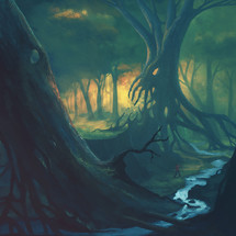Digital illustration of a man walking through a scary forest