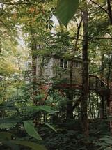 a mountain cabin on stilts