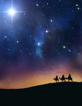 Three wise men under the starry night sky.