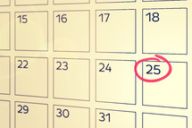 the 25th circled on a calendar