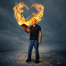 hearts on fire from the pages of a Bible