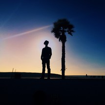 Silhouette of a man standing by a tree at sunset.