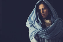 Mary in a blue shroud
