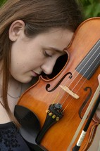 teen girl and violin