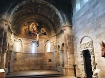 crucifix hanging in a medieval church