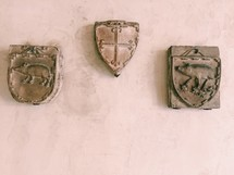 shield hanging on a wall