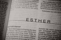 Open Bible in book of Esther