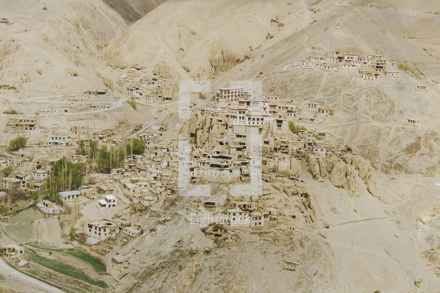 aerial view of a mountain side village