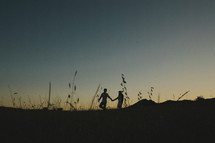 silhouette of a coupe holding hands in a field