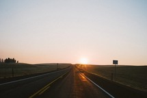 sunset and a road