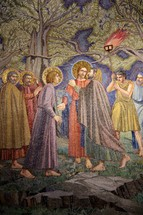 Painting depicting Jesus and His disciples in the Garden of Gethsemane when Jesus was betrayed by Judas
