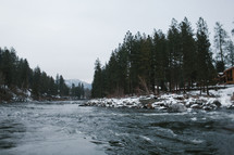 rushing water in a river and snow on the banks
