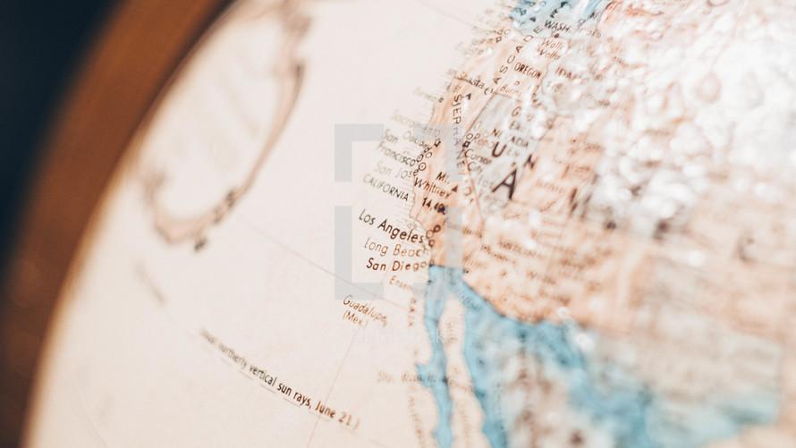California on a globe