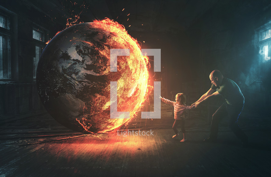 A little girl reaches out to a burning world, but her father pulls her back to safety.