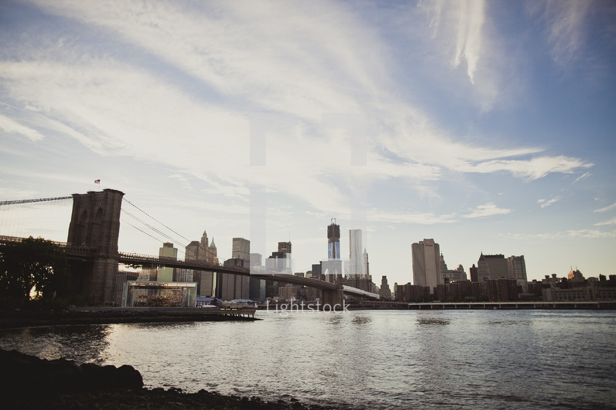 The Brooklyn Bridge and the skyline of Manhattan
