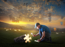 A man studies a puzzle piece falling from the sky, showing that the world is falling apart and the end times are coming.