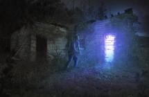 a shackled man seeking light