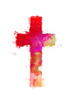 Bright, watercolor painted cross