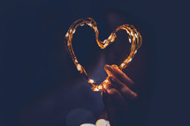 heart shape from a string of lights