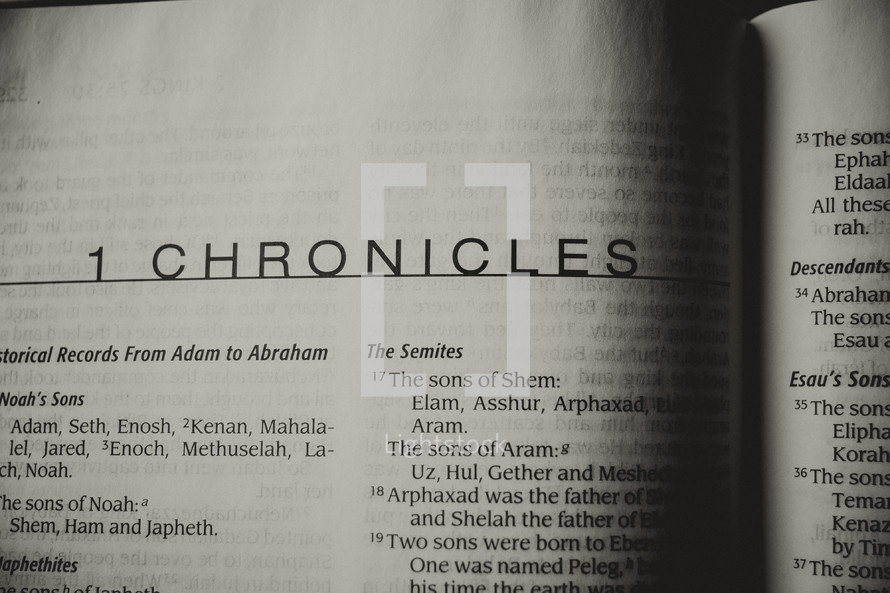 Open Bible in book of Chronicles