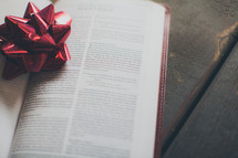 a red Christmas bow on the pages of a Bible