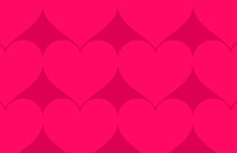 pink hearts on red pattern background