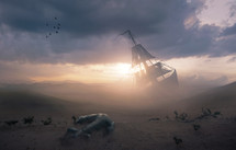 Surreal image of a shipwreck in the desert with a lost anchor