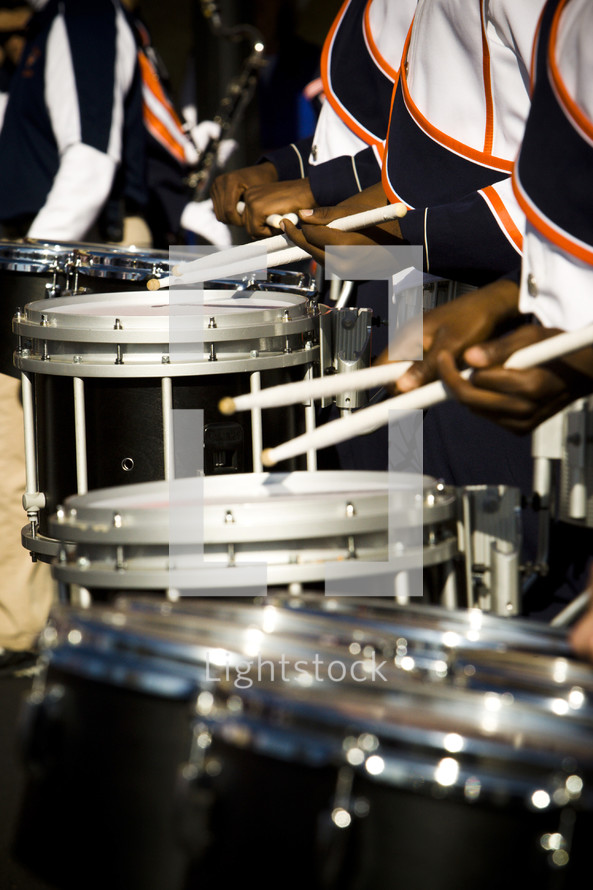 drummers in a band snare drum line marching bugle corp military