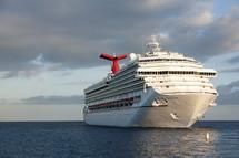 A cruise ship on the ocean.