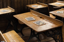slate boards on old student desks