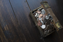 a trunk of coins