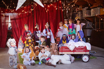 live nativity scene at a children's Christmas pageant