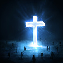 people coming to see a glowing cross