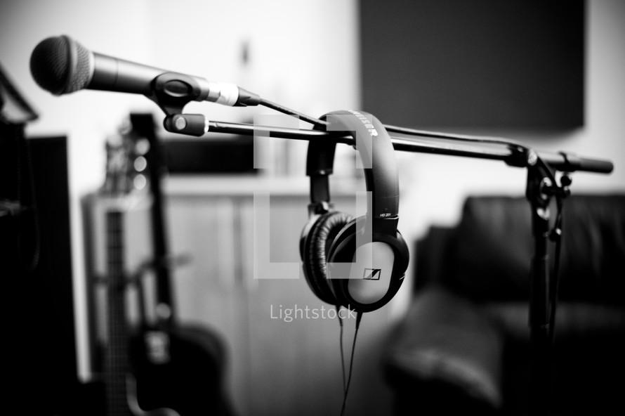 headphones over a microphone