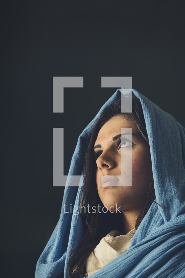 face of Mary in a blue shroud