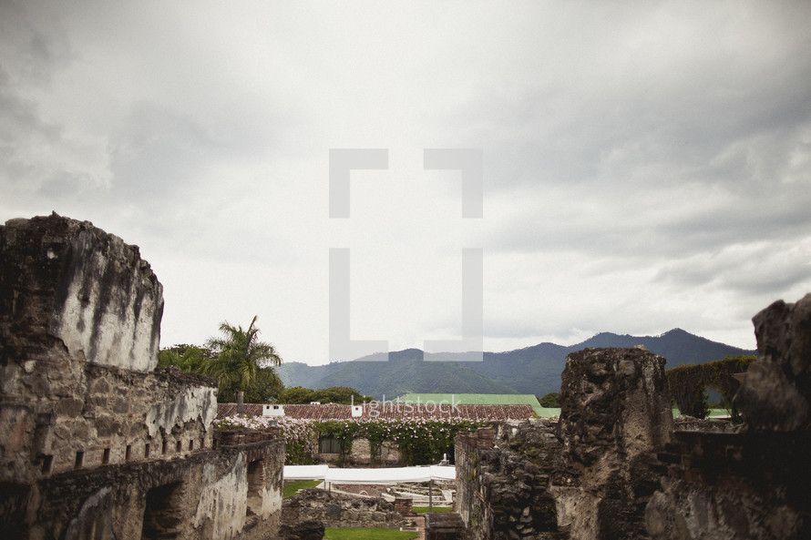 Ancient ruins in tropical location