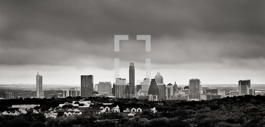 Tall buildings of a city skyline